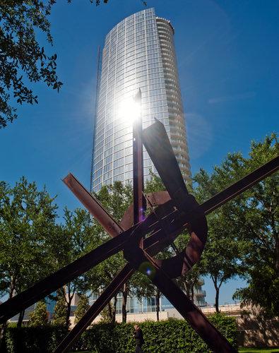 Museum Tower glare seen from inside Nasher garden(photo: Brandon Thibodeaux | The New York Times)