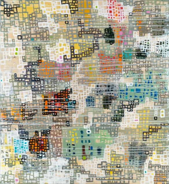 "Title: ""Communities Connecting"" Acrylic on canvas | 49"" x 45"" Artist: Meg Fitzpatrick | 2013"