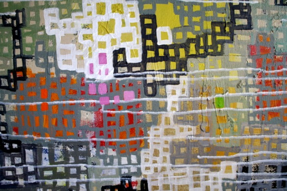 """Detail of textures in painting, """"Communities Connecting"""""""