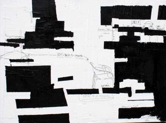 "Title: ""Be Still. Sit. Create."" Plaster, acrylic, graphite, ink and newsprint on canvas | 18"" x 24"" Artist: Meg Fitzpatrick | 2013"